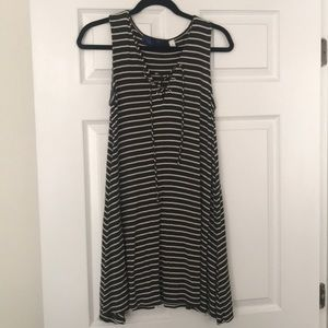 Green and white striped summer dress